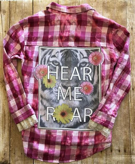Upcycled Flannel Shirt, Embellished Flannel Shirt, Bleach