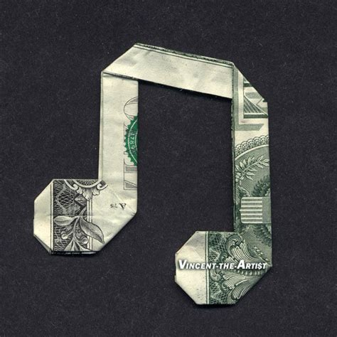 MUSIC NOTE Money Origami Dollar Bill by Vincent-the-Artist