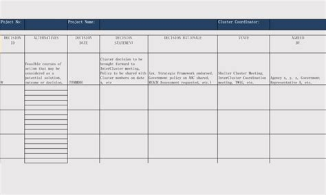 Free Decision Log Templates (for Excel, Word, PDF)
